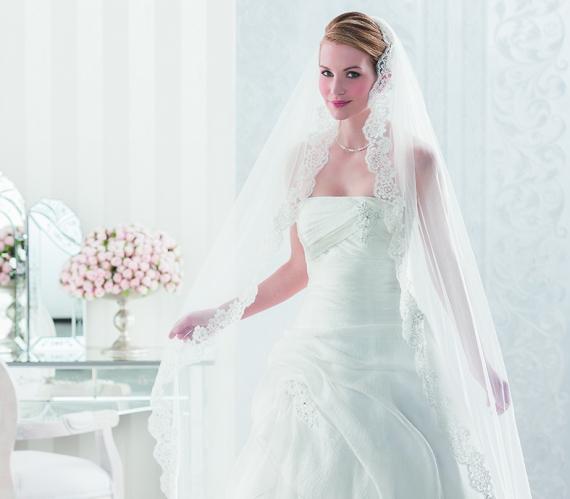 Brautkleid mit langem weißen Schleier