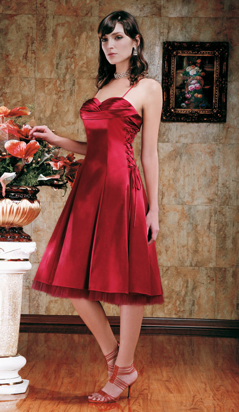 Cocktailkleid mit Tüll in bordeaux-rot | Brautmode-Shop.com | Braut ...