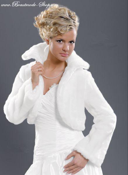 Bolero Jacke für die Braut Fellimitat Farbe, Größe: weiß, M