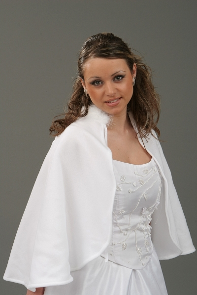 Fleece-Cape mit Marabufedern