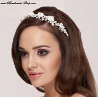 Diadem Tiara mit Blüten und Perlen