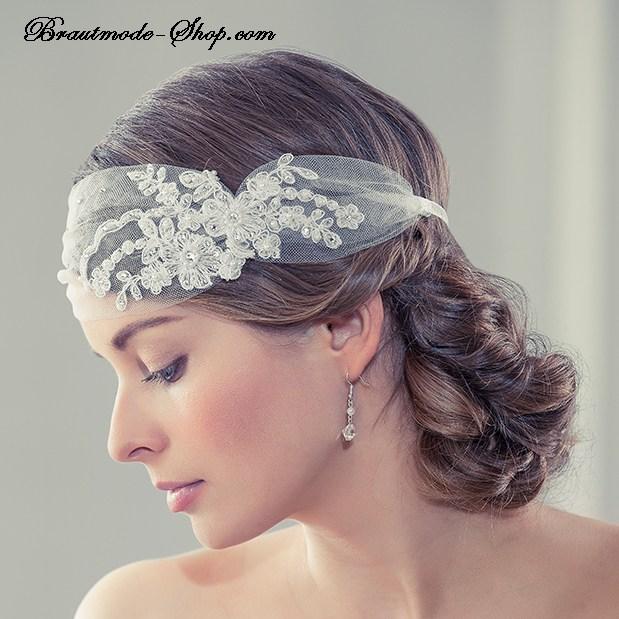 Braut haarschmuck spitze  Haarband mit Spitze ivory | Brautmode-Shop.com | Braut + Abendmode ...