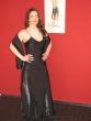 Abendkleid mit einer Rose & Stola / schwarz