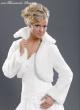 Bolero Jacke für die Braut Fellimitat Farbe, Größe: weiß, S