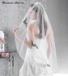 Brautschleier mit farbiger Spitze  Weiss weiss