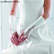 Brauthandschuhe mit Spitze  Farbe  weiss