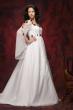 Brautkleid aus Satin und Chiffon   weiss bordeaux